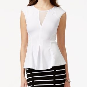 Guess Ponte Peplum Top White Faux-leather-detail